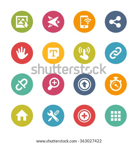 Web and Mobile Icons 10 // Fresh Colors Series ++ Icons and buttons in different layers, easy to change colors ++ - stock vector