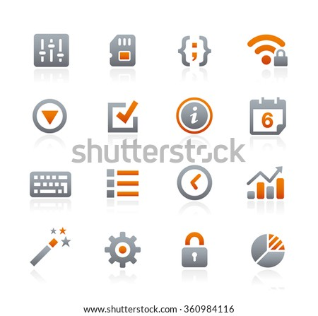 Web and Mobile Icons 4 // Graphite Series - stock vector