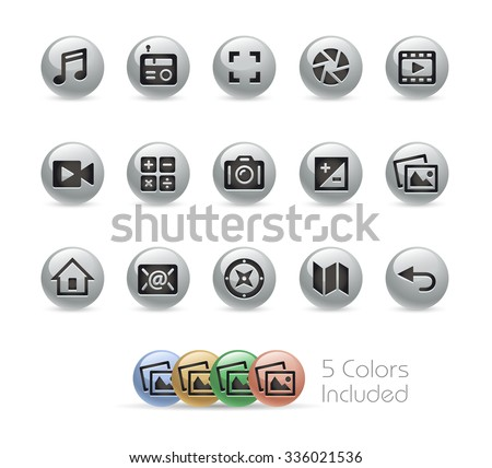 Web and Mobile Icons 5 // Metal Round Series -- The vector file includes 5 color versions for each icon in different layers. - stock vector