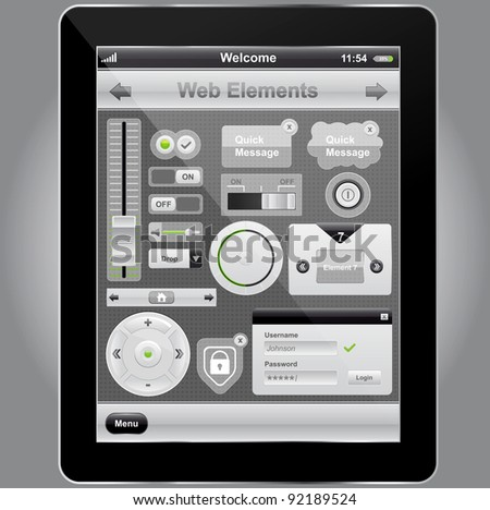 Web and mobile interface elements and tablet pc,vector - stock vector