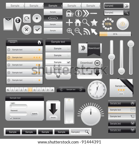 Web and mobile interface elements,vector - stock vector