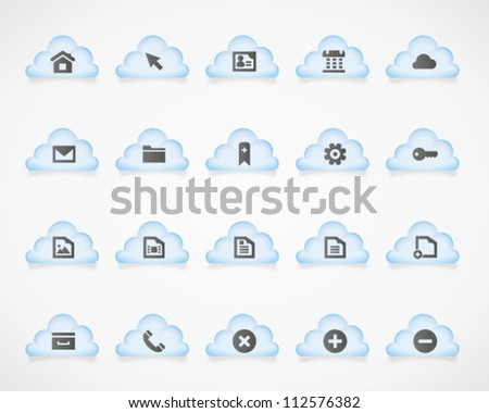 Web and office icons on light clouds. Image contains transparency - you can put it on every surface. 10 EPS