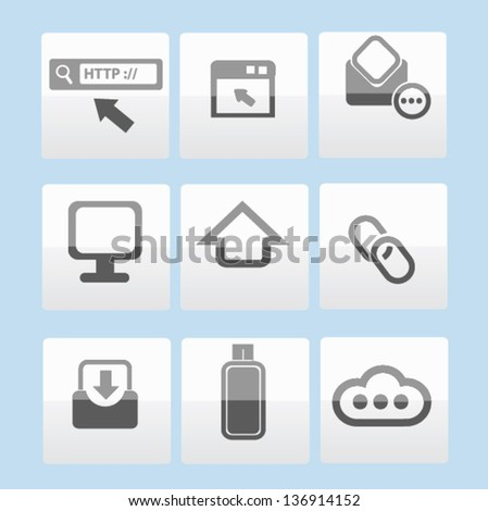 Web and social technology icon set,vector