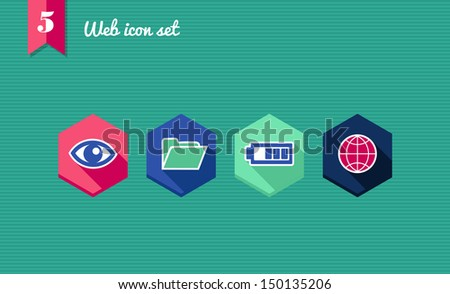 Web applications flat icon set, global seo elements. Vector file layered for easy editing. - stock vector
