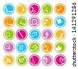 web apps icons set, internet round buttons set - stock vector