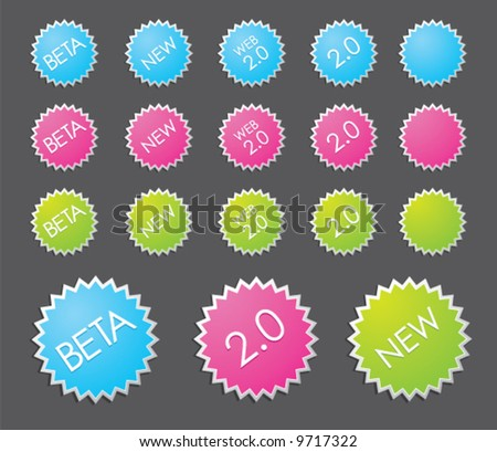 Web 2.0 badges - insert your own text and customize them - stock vector