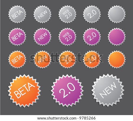 Web 2.0 badges (set 2 ) (add your own text and customize them) - stock vector