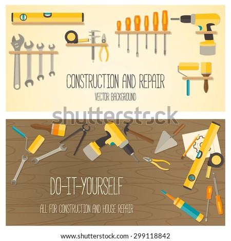Web banner concept of DIY shop. Vector flat design background with construction tools and home repair kit. - stock vector