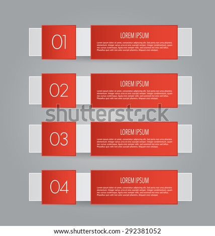 Web banner template with number options for infographic, design, business, education, presentation, website, brochure, flyer. Editable vector tags in red color.