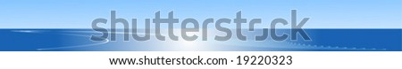 Web banner with blue sea and sky - stock vector