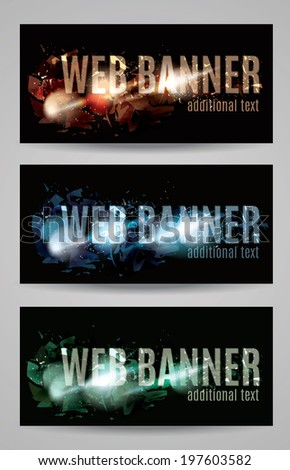 Web banner with shattered effect collection - stock vector