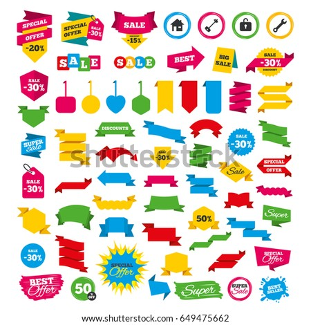 Collection sale elements stickers labels tags stock vector for Style at home special offer