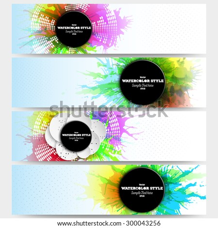 Web banners collection, abstract header layouts. Set of colorful headers with  watercolor stains and place for text, vector illustration templates. - stock vector
