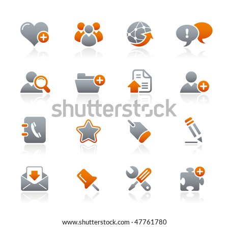 Web Blog & Internet // Graphite Icons Series - stock vector