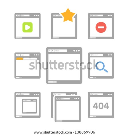 Web browser icons isolated on white - stock vector