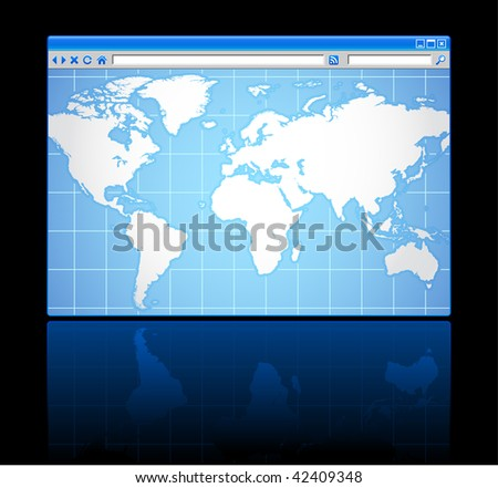 web browser world map background - stock vector
