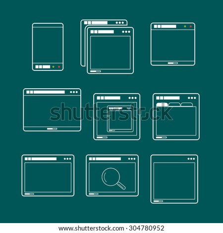 Web browsers lineart design collection. Vector mockup  - stock vector