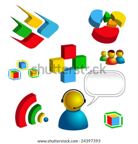 web business and technology related vector isolated icons - stock vector