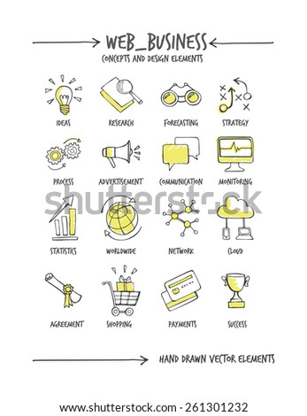 Web business hand drawn concepts and icons - stock vector