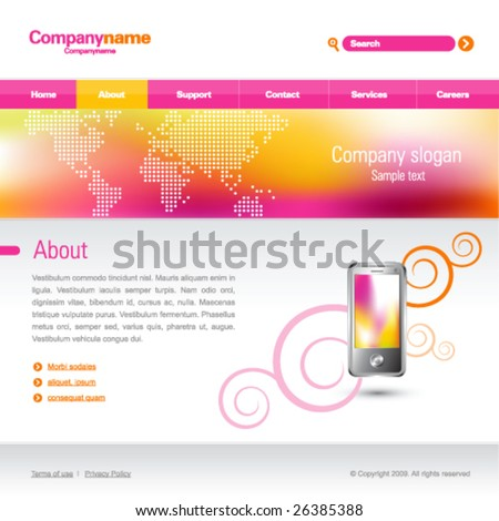 Web business template, editable, elements separate on layers - stock vector