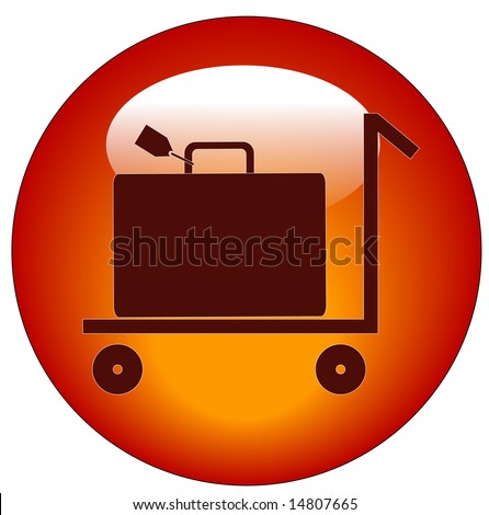 web button of flat pull trolley cart with luggage on it - stock vector