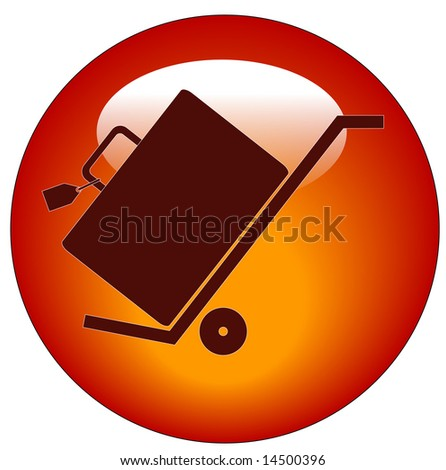 web button of hand trolly cart with luggage on it - stock vector
