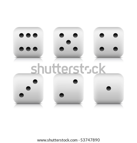 Web button white casino dice icon with shadow and reflection. White background - stock vector