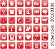 Web buttons and icons, red - stock photo