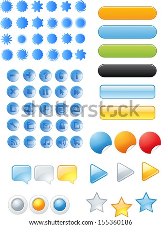 web buttons and signs - stock vector