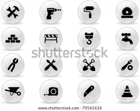 Web buttons, Construction symbol - stock vector