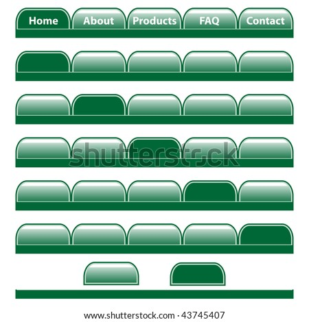 Web buttons, green navigation bars with individual blank tabs. Isolated on white. Raster also available.