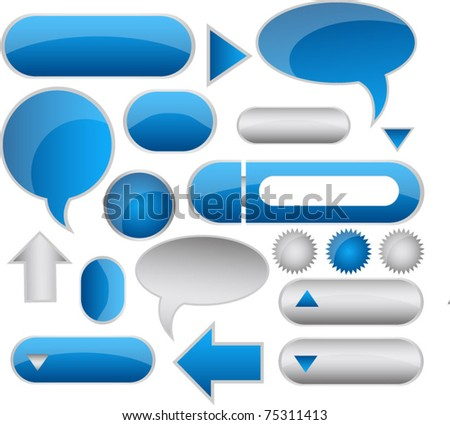 web buttons icons and speech bubbles - stock vector