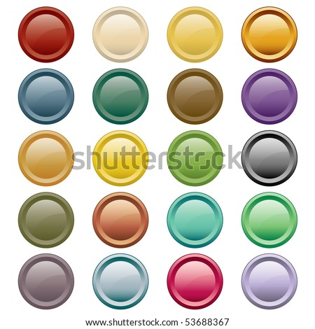 Web buttons in 20 round assorted colors. Isolated on white. Raster also available.