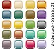 Web buttons in 20 rounded square assorted colors. Isolated on white. Raster also available. - stock photo