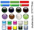 Web buttons in various shapes and colors - stock vector