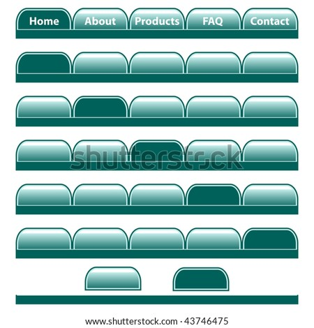 Web buttons, jade colored navigation bars with individual blank tabs. Isolated on white.