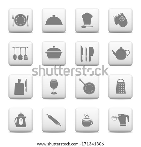Web buttons, kitchen and cooking icons - stock vector