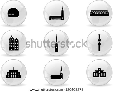 Web buttons, landmark icons - Stockholm