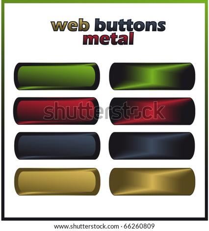 web buttons - metal vector template - stock vector