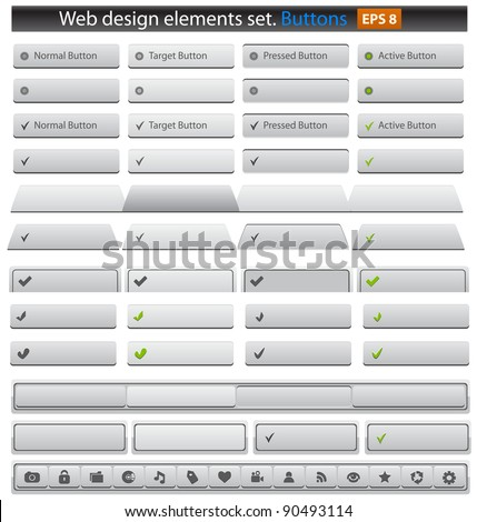 Web buttons set. Vector illustration - stock vector