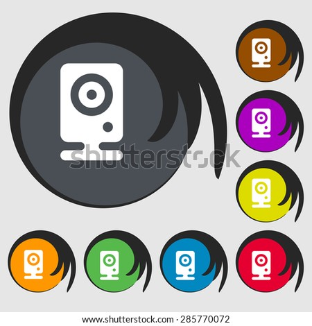 Web cam icon sign. Symbol on eight colored buttons. Vector illustration - stock vector