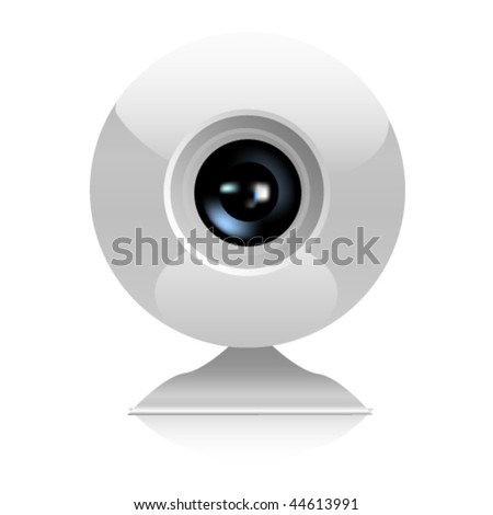Web camera close-up isolated on a white background. Vector - stock vector