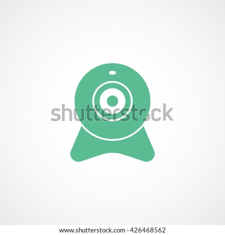 Web Camera Green Line Icon On White Background