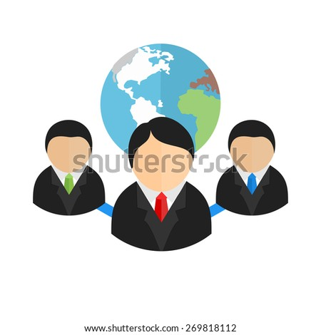 Web client server, clients, globe, web icon vector image. Can also be used for communication, connection, technology. Suitable for web apps, mobile apps and print media. - stock vector