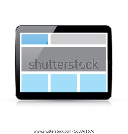 Web coding concept - responsive html and css web design in horizontal tablet - stock vector