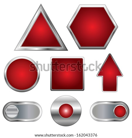 Web collection. Set of 8 vector elements. Shiny red buttons with metallic: triangle, hexagon, round, square, arrow, switches. - stock vector
