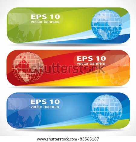 Web2 colorful banner set with the Earth on them, editable vector composition - stock vector