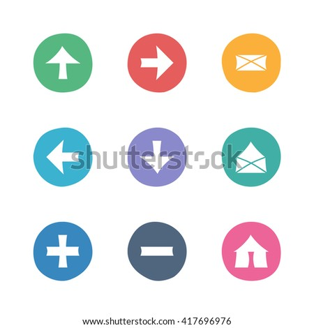 Web colorful flat icons set. Hand-drawn round buttons. Isolated. Vector illustration. Arrows, Letters, Home, Plus, Minus - stock vector