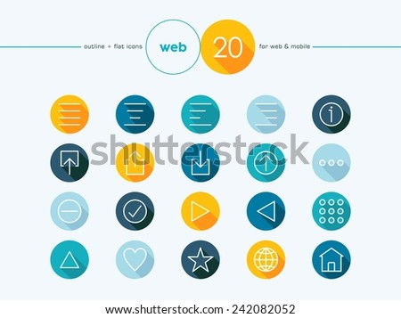 Web colorful outline style flat icons set for web and mobile app. EPS10 vector file organized in layers for easy editing. - stock vector
