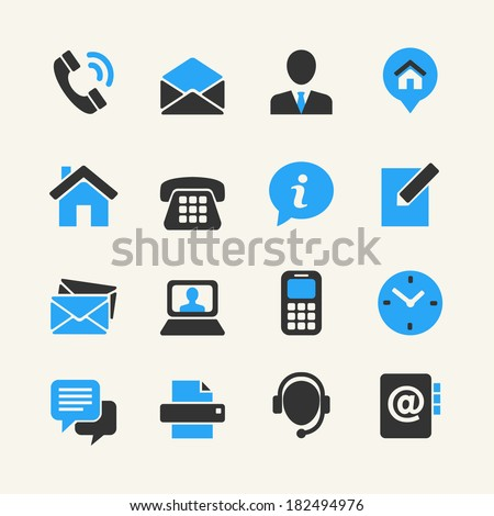 Web communication icon set: contact us  - stock vector